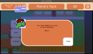 Pierre's a birdwatcher!