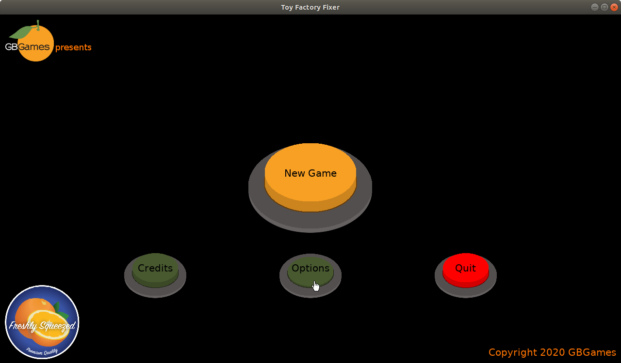 Toy Factory Fixer main menu buttons