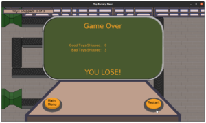 Toy Factory Fixer - Game Over screen